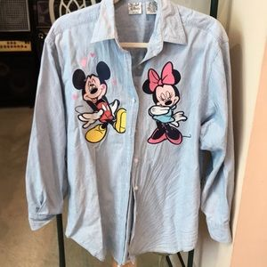 Vintage Mickey and Minnie Denim Button Down